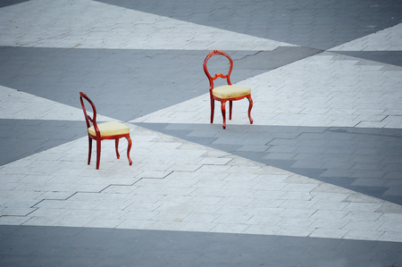 Two chairs on a square Sergels Torg Stockholm