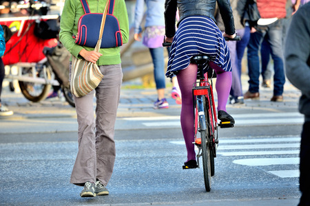 Pedestrian and bicyclist Stock Photo