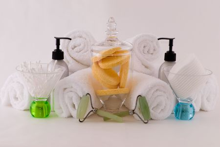 Various professional spa products arranged on a white background Stock Photo - 12451082