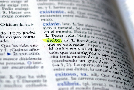 Picture of exito Spanish dictionary word for success