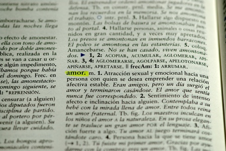 language dictionary: Picture of  Spanish dictionary word for love