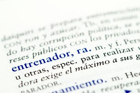 Closeup of Spanish dictionary word for coach Stok Fotoğraf - 13274430