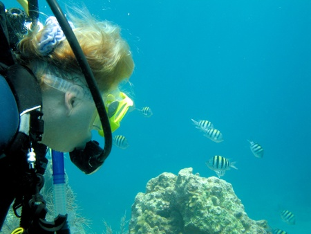 Senior woman scuba diving photo