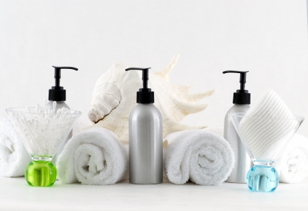 replenish: Various professional spa products arranged on a white background