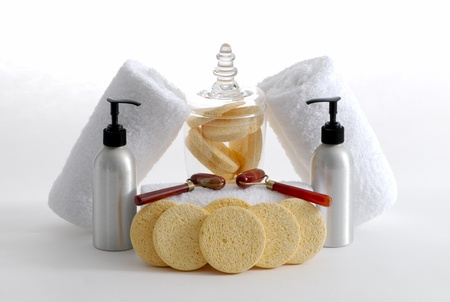 Various professional spa products arranged on a white background Stock Photo - 14004141