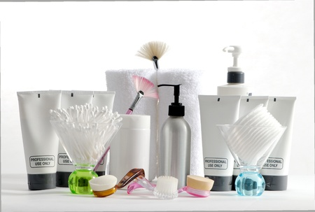 cleanser: Various professional spa products arranged on a white background