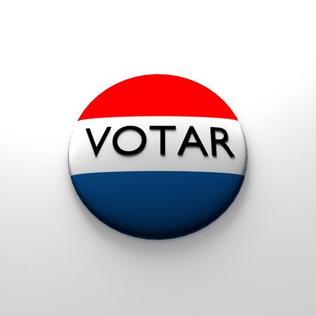 voter: Red white and blue Voter button in spanish