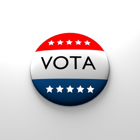 voter button in spanish with stars photo