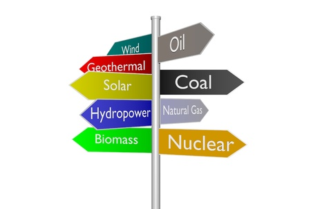 hydroelectricity: Sign post of fossil fuel vs renewable energy types Stock Photo