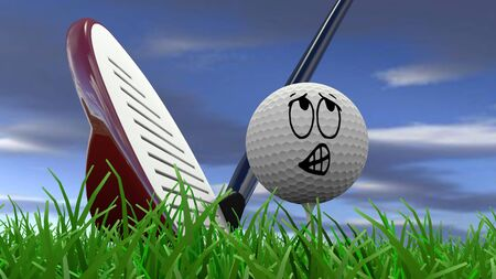 Cartoon golf ball being hit with golf club photo