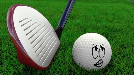 Cartoon golf ball being hit with golf club