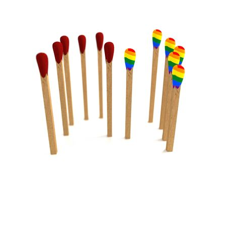 small group of objects: Red vs Rainbow matches on white background