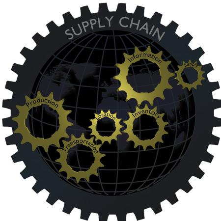 cadenas: cadena de suministro de engranajes concepto de red logística con el globo