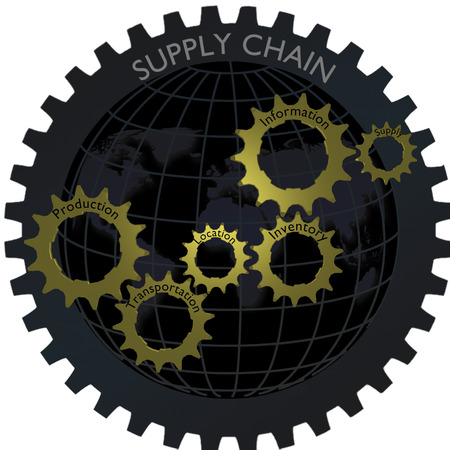 supply: Logistic supply chain gear network concept with globe Stock Photo