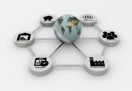 Supply Chain network with earth globe on white background