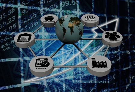 3d rendering of Supply Chain network with on background