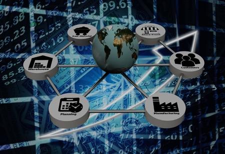 3d utylizacyjnej z sieci łańcucha dostaw w tle