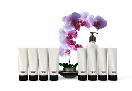 flower bath: 3d rendering of Spa containers and products with orchid Stock Photo