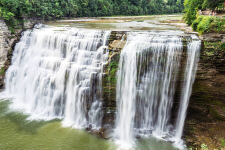 The full view of the middle falls along the Genesee river in Letchworth State Park, Castile New York