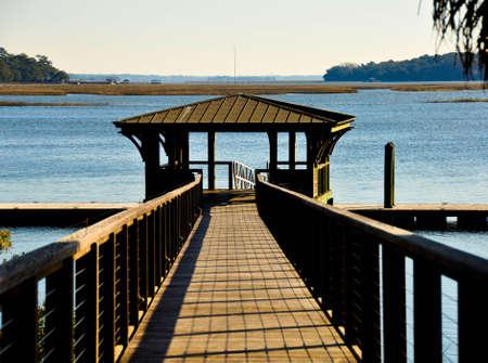 palmetto: Dock at Palmetto Bluff Stock Photo