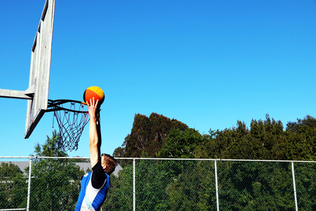 handed: Two handed basketball dunk