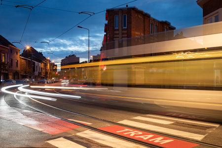 Belgium - Ghent - moving tram at night