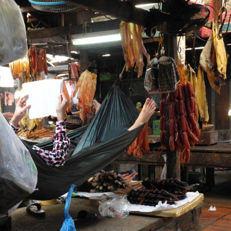 haggling: Market seller having a breat, relaxing in a hammock, surrounded by dried saussages and fish