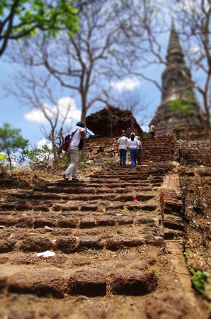 achievment: Strenous climb upstairs on stony steps to reach the top