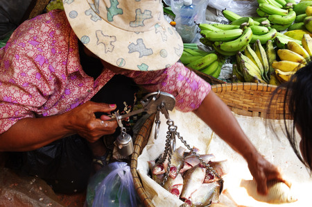haggling: Market scene, woman with hat weighing fresh fish on a scale for sale