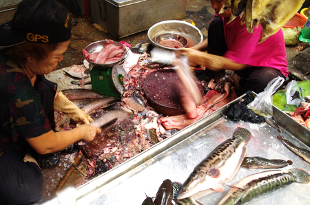 haggling: Woman at a local market in Asia scaling and selling fresh fish, smelly