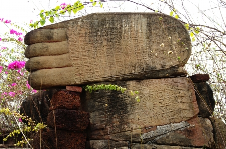 engravings: Gigantic feet of the Buddha with engravings, Udong, Cambodia