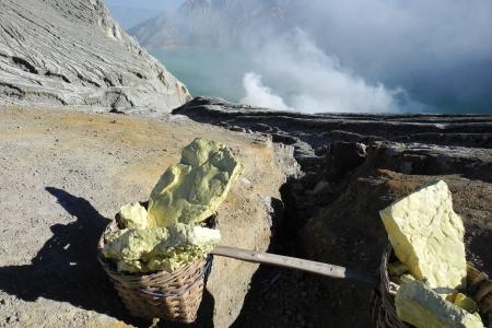Sulfur workers on active Ijen volcano crater, Java, Indonesia Stock Photo - 25310104