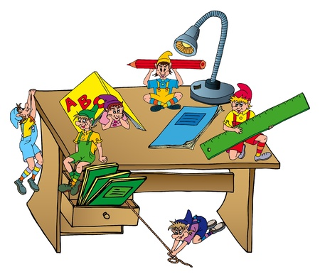 drawers: Elves on school table   Illustration