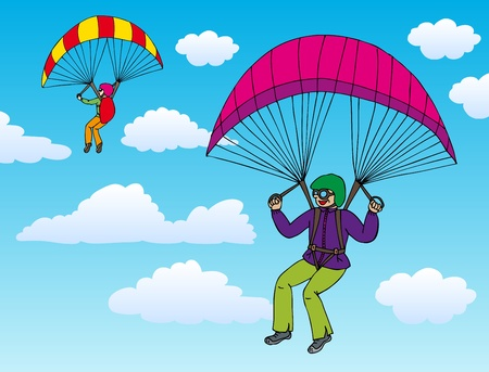 parachuting: Two paragliders on sky  Illustration