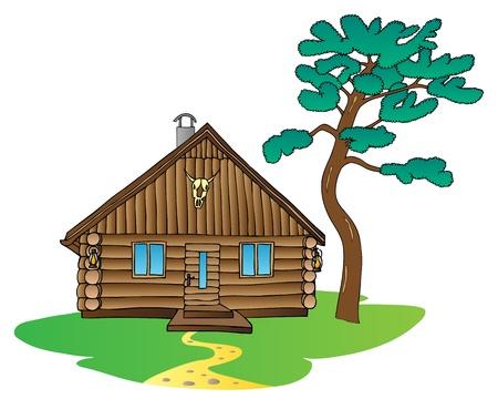 kabine: Holzhaus und Kiefer