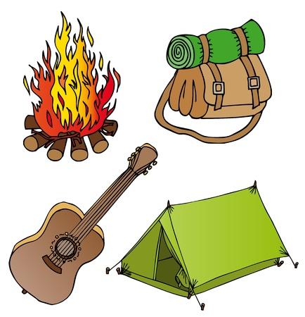 lägereld: Camping objects samling Illustration