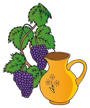 carafe: Grapes and pitchers Illustration