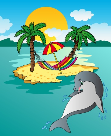 Island and dolphin Stock Vector - 13488537