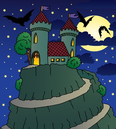 Castle by night - vector illustration  Vector