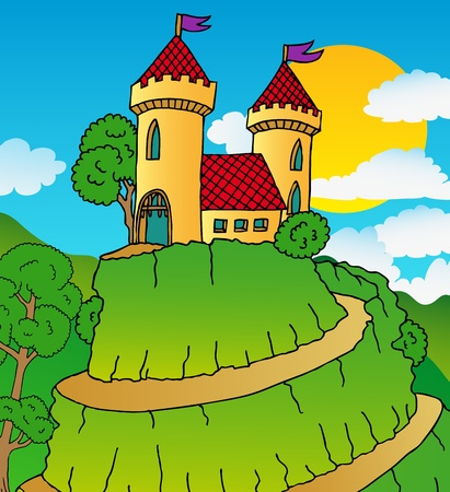 Castle on hill - vector illustration  Vector