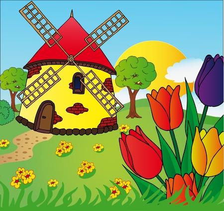 MOLINOS DE VIENTO: Molino de viento y tulipanes - ilustración vectores