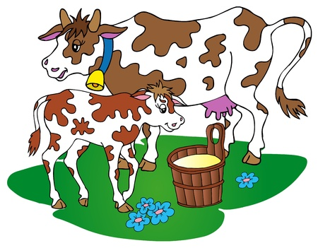 milk pail: Cow with calf - vector illustration