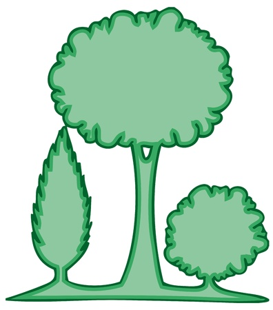 treetop: Three green trees 1 - vector illustration
