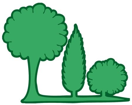 Three green trees 2 - vector illustration