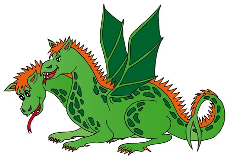 Two headed dragon - vector illustration