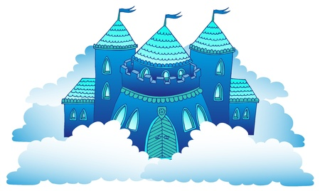 Castle on clouds - vector illustration
