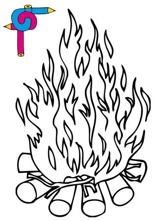 Coloring image campfire - vector illustration