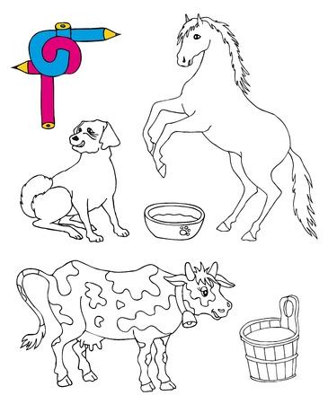 Granero Y Caballos - Ilustración Vectorial. Ilustraciones ...