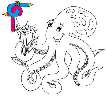Coloring image octopus - vector illustration