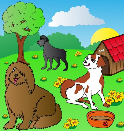 Dogs siesta on garden - vector illustration  Vector